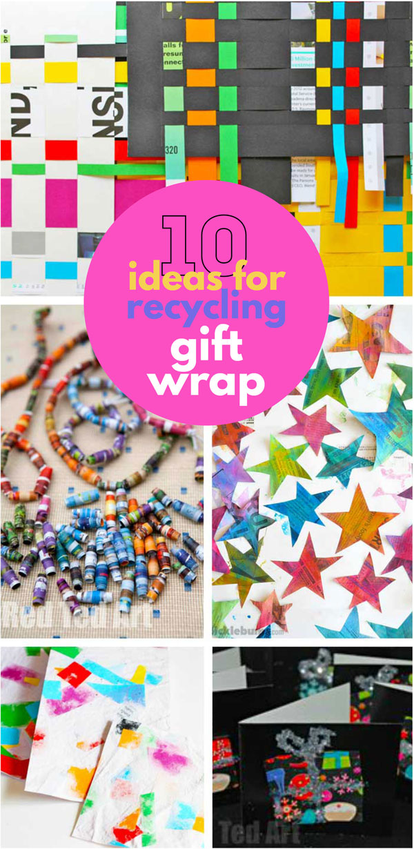 10 ideas for recycling gift wrap. Give all that wrapping paper new life by using it in collages, cards, jewelry and more!