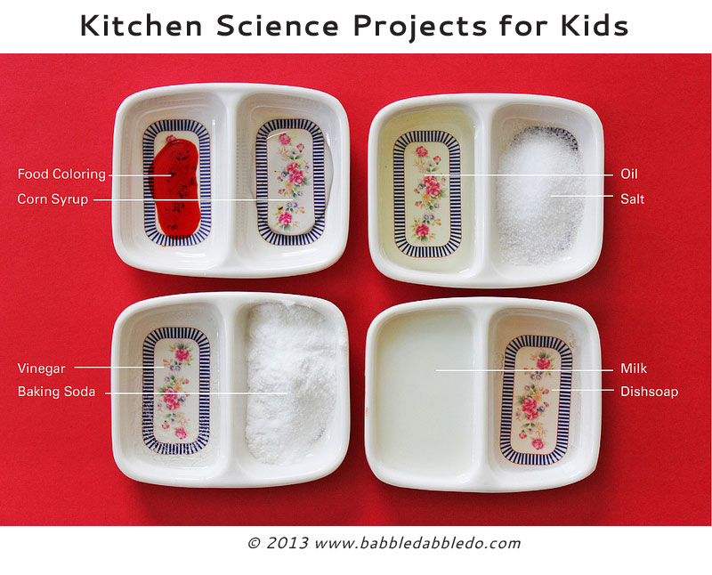 12 science projects for kids using common ingredients from your kitchen.