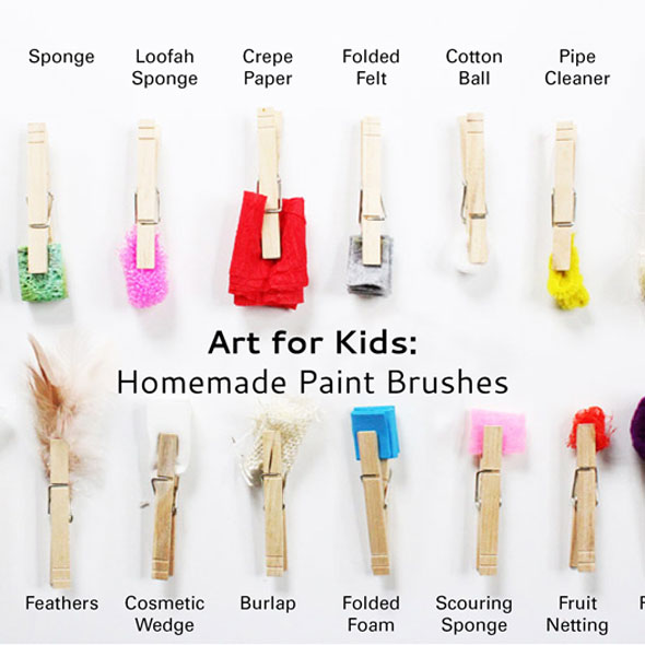 Fun art idea: Make your own brushes from found materials.