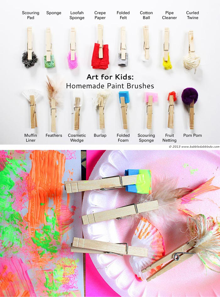 Try this STEAM Challenge For Kids: Make DIY paint brushes out of clothespins and found materials.