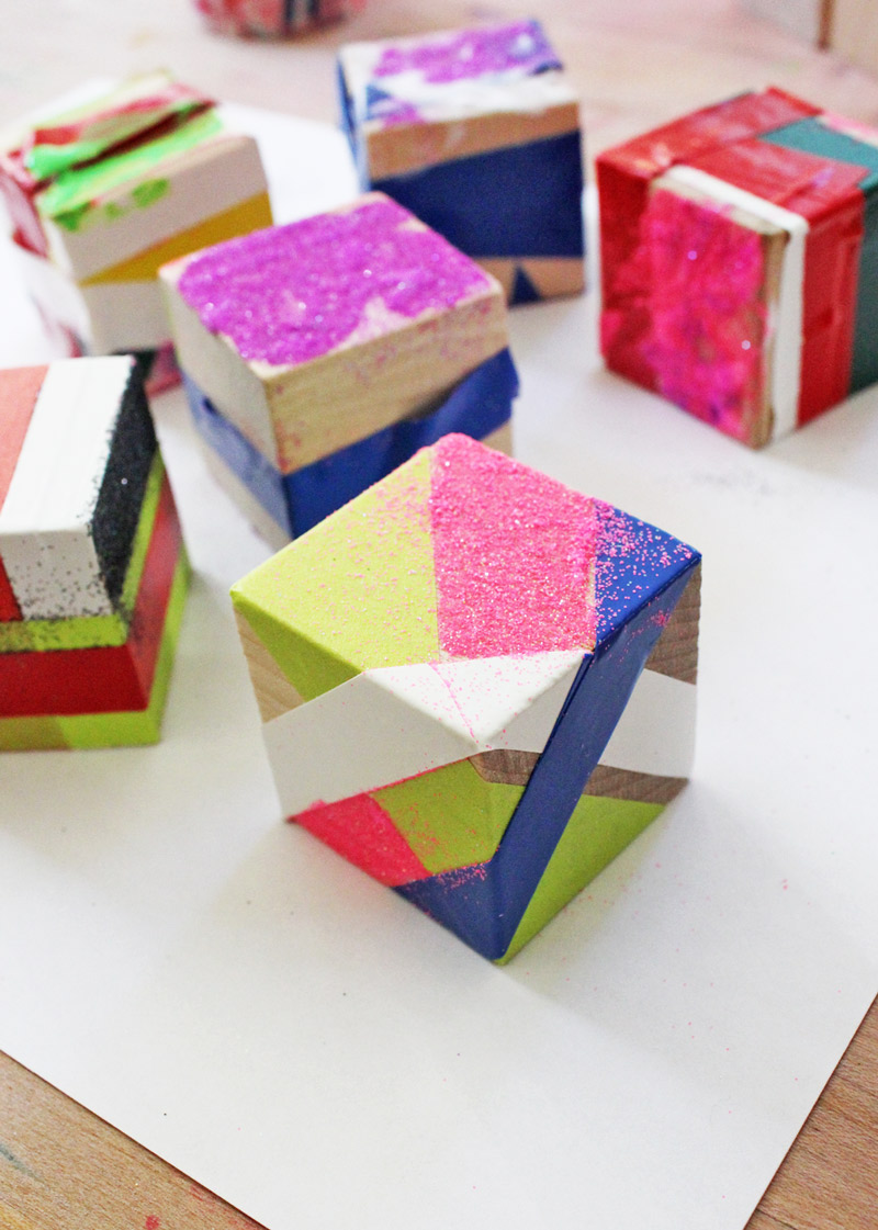 Christmas crafts for kids- make modern ornaments out of wood blocks and tape