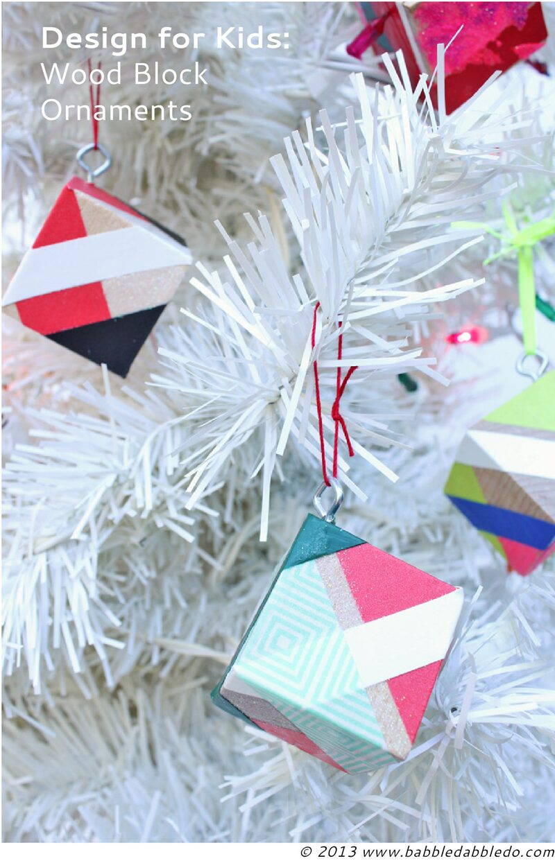 Christmas crafts for kids- make modern ornaments out of wood blocks and tape.