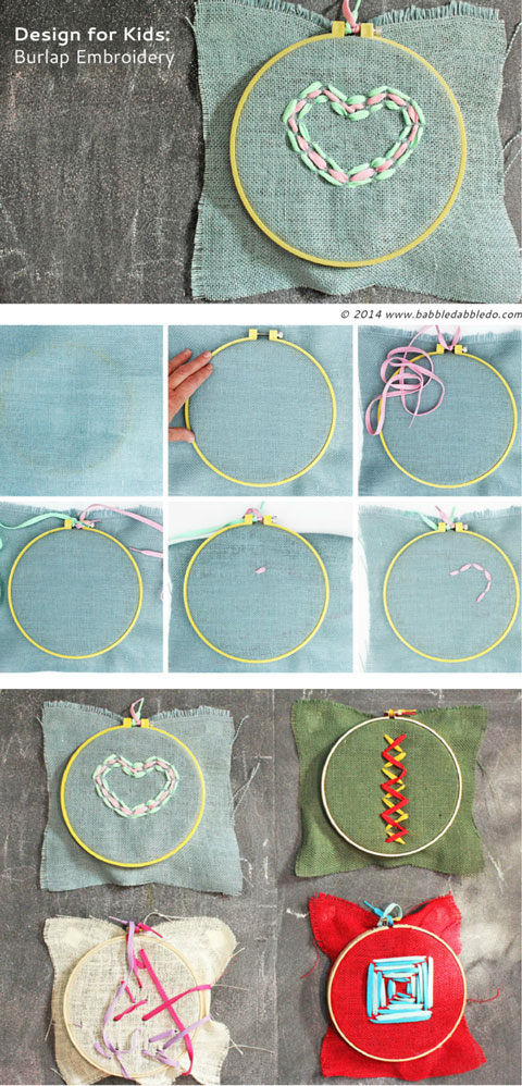 Sewing Ideas for Kids: BURLAP EMBROIDERY | Babble Dabble Do | #sewingforkids #sewing #embroidery #kidscrafts