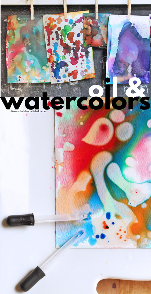 A simple STEAM activity for kids to try. Combine watercolors and oil in this easy science meets art experiment.