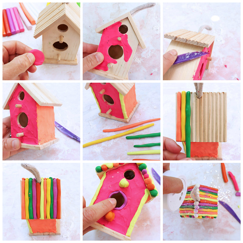 Art Projects For Kids Use Colored Clay To Decorate Inexpensive Wood Birdhouses