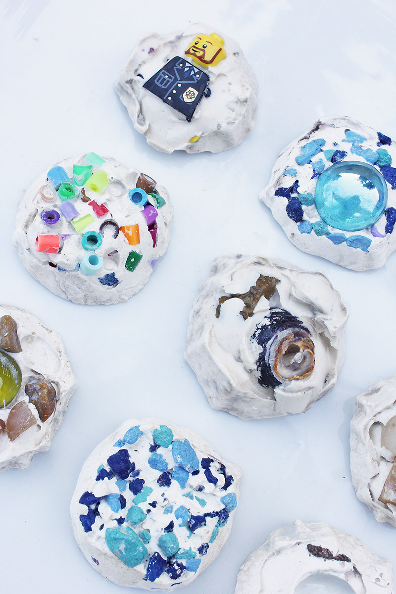 Plaster of paris projects idea: Try making mosaic treasure tiles from colorful found objects.