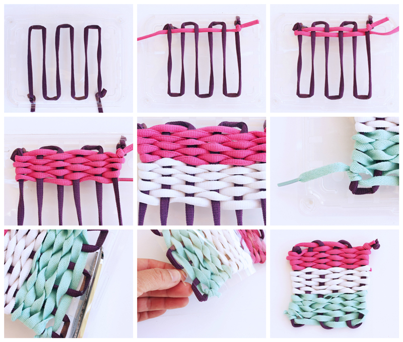 Basic Weaving Using A Recycled Plastic Loom. The loom is made from fruit packaging.