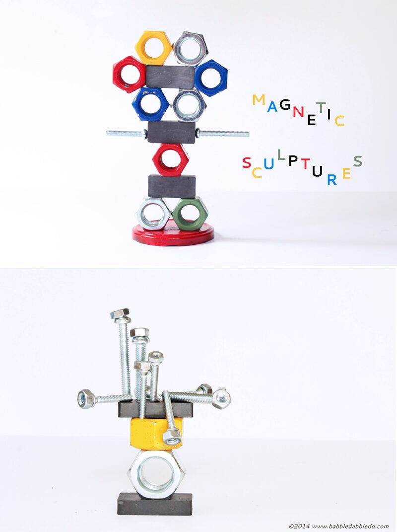 Explore magnetism with kids by making magnetic sculptures!