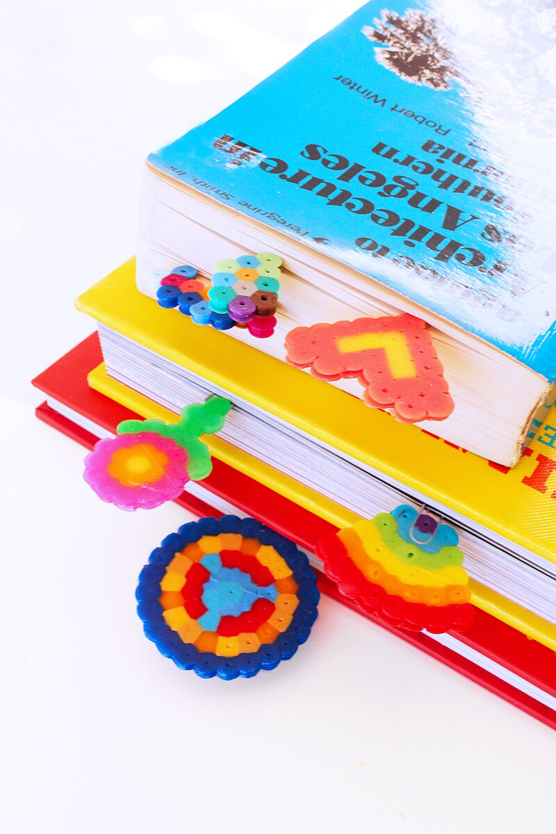 Make mini bookmarks out of Perler beads and paper clips