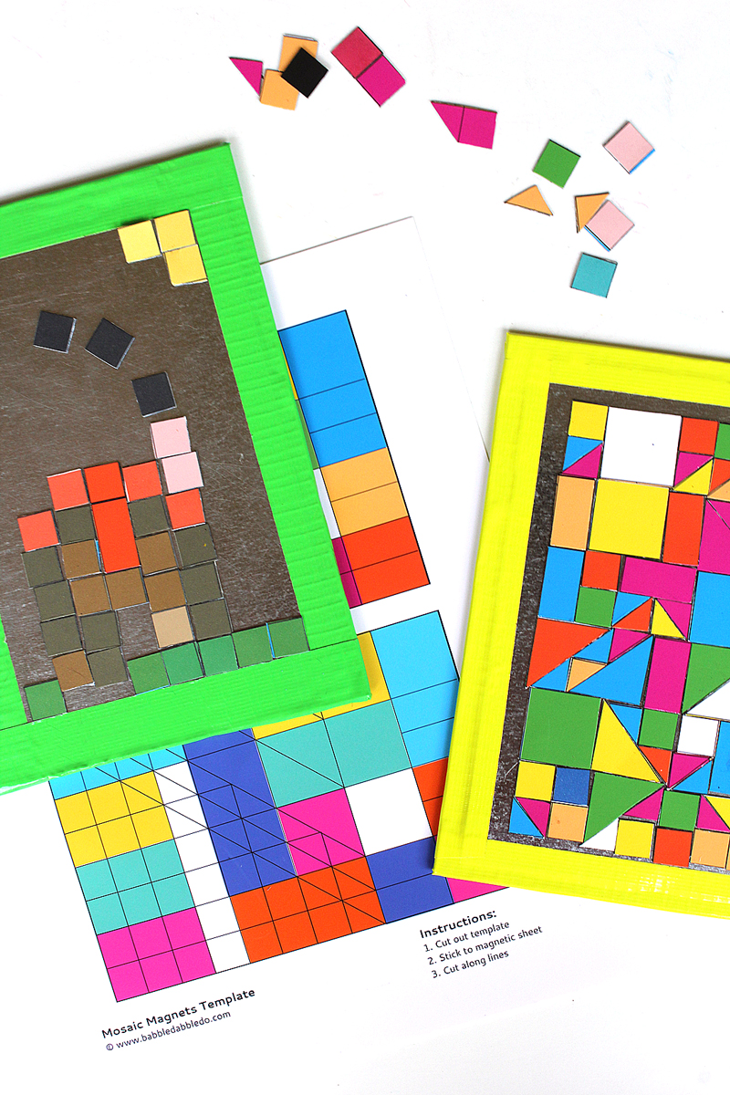 Mosaic Art for Kids: Make geometric mosaic magnets with our free printable and magnetic sheets.