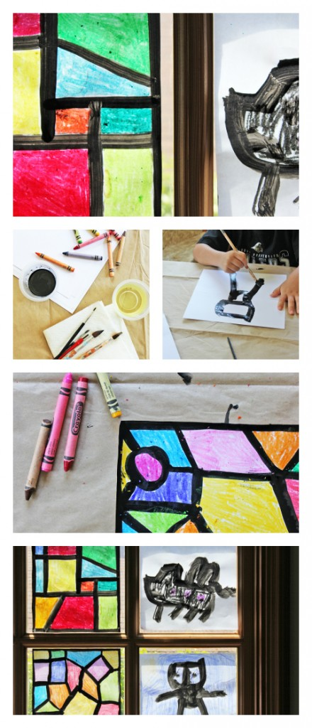 Faux Stained Glass Craft for kids- Ours is still in our window ONE YEAR LATER!