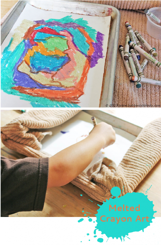 Melted Crayon Art Project for Kids- Fun alternative to crayon drawing