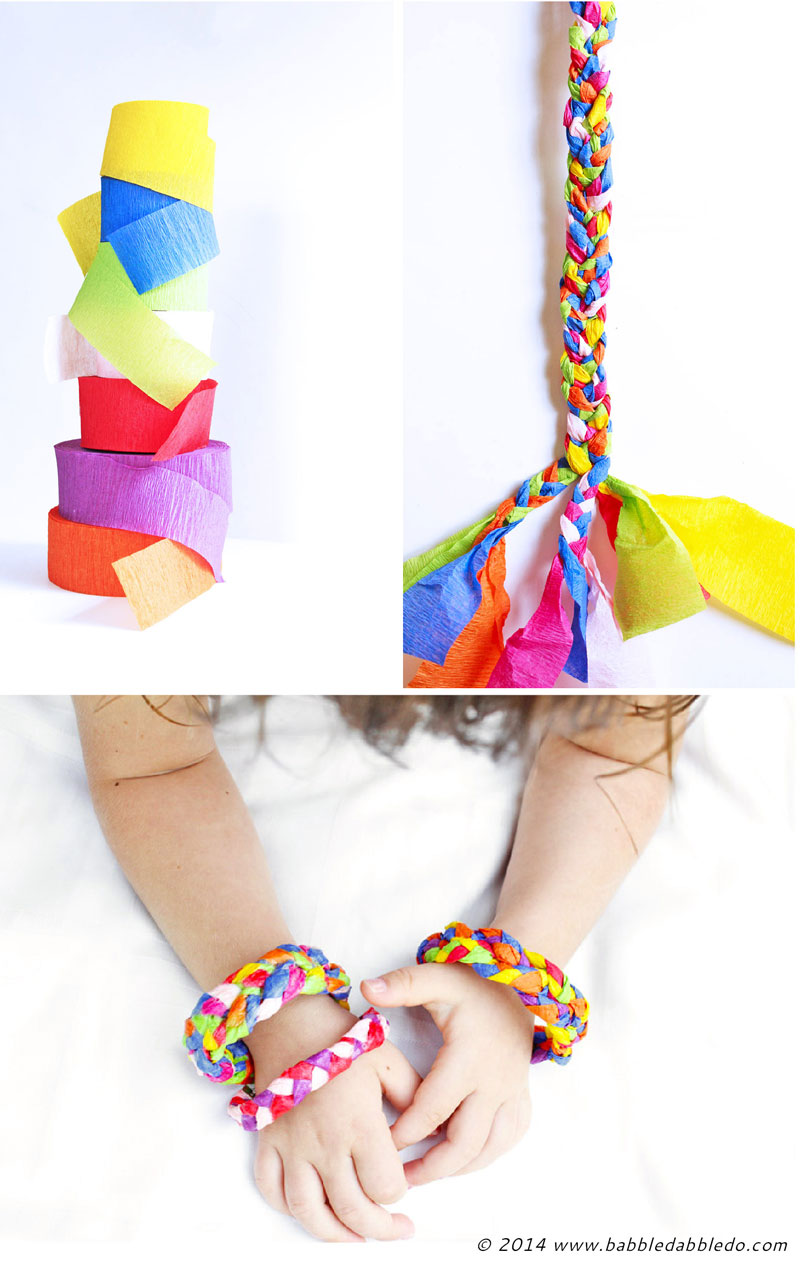 Design for kids crepe paper bracelets babble dabble do for Crafts to make for kids