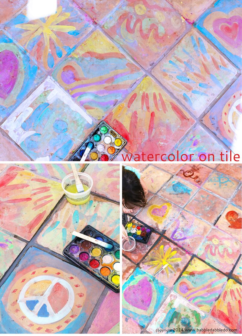 Easy Art Ideas for Kids: Watercolor on Tile. Artful results that will fade away in time.