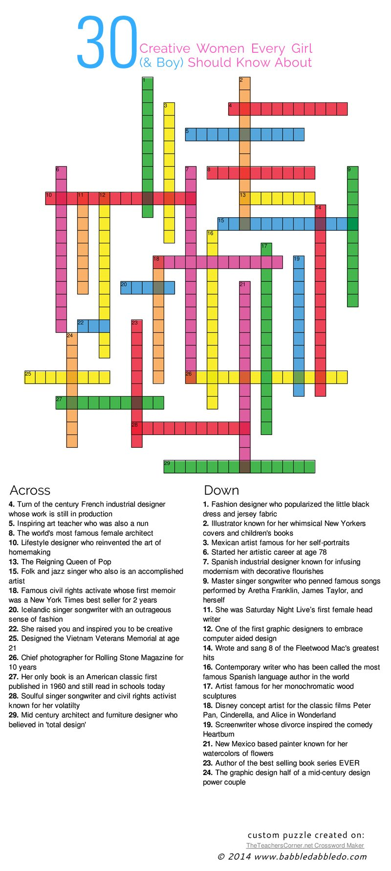 30 Creative Women Every Girl (& Boy) Should Know About- Plus a FREE downloadable word search and crossword puzzle