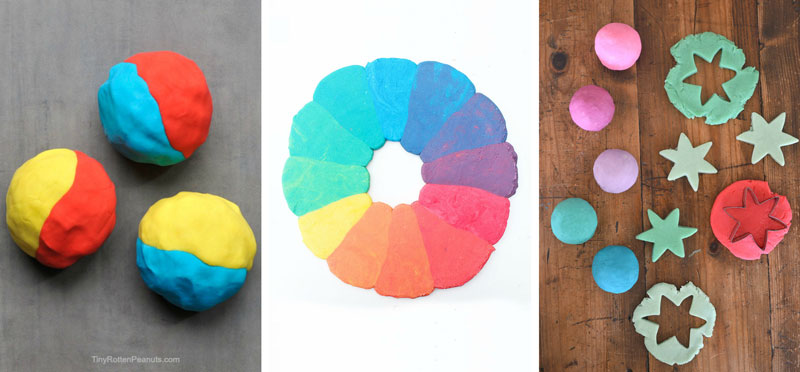 Explore color theory by creating a rainbow playdough color wheel.