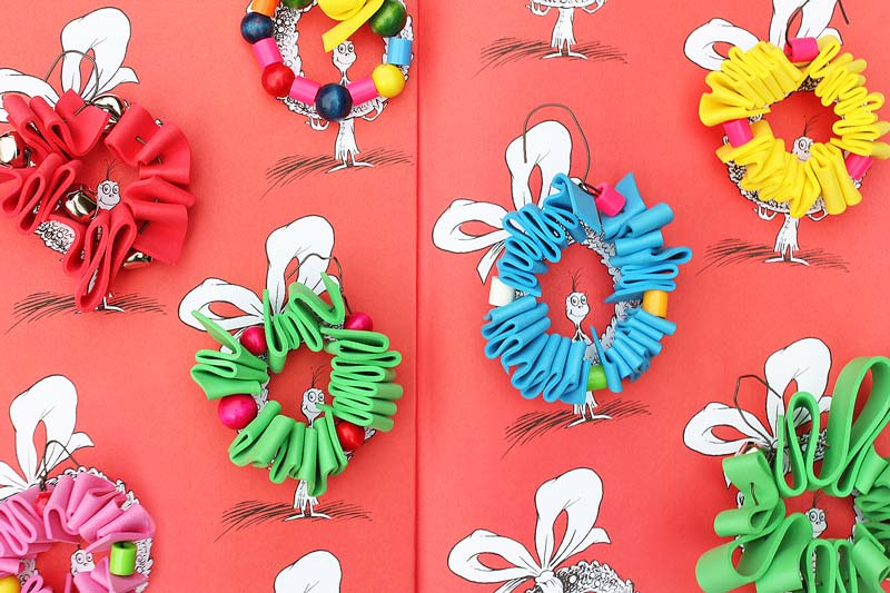 homemade ornaments inspired by the book - Dr Seuss Christmas Decorations