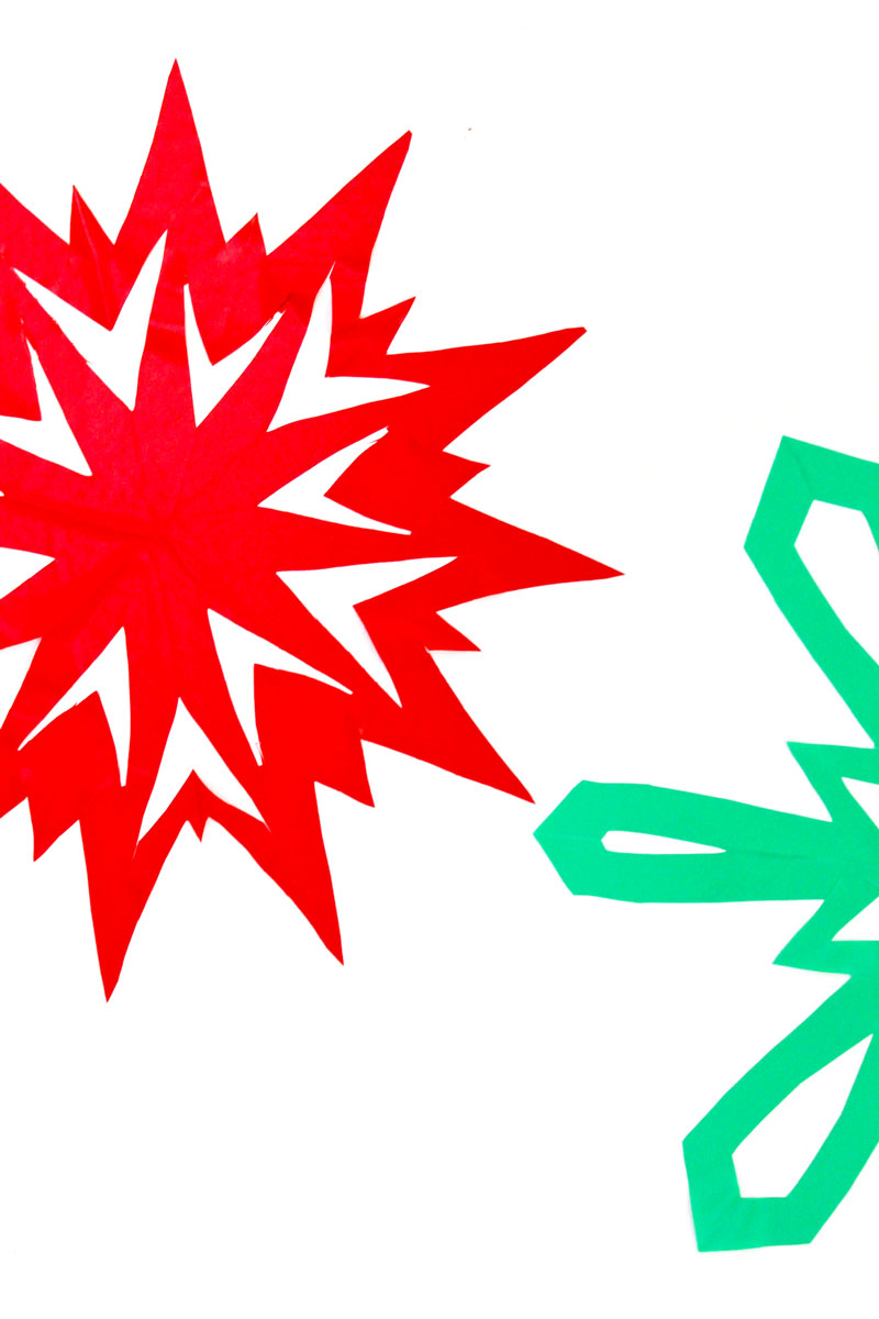 """Make """"sticky"""" snowflakes using contact paper. Fun idea for DIY wall and window clings."""