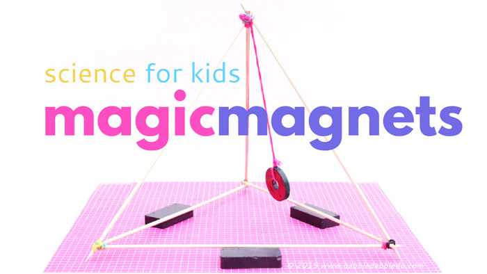 "Explore the magic of magnet science with 4 fun science experiments and our DIY ""magnetic gizmo"" made from skewers and a donut magnet."