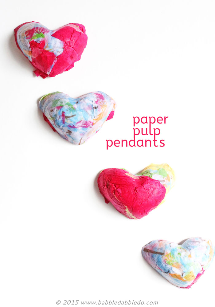 Paper Crafts: Paper Pendants made from recycled tissue paper.