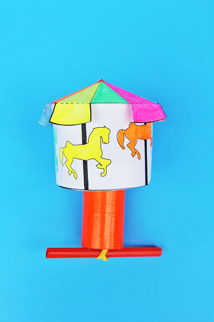Make a Kinetic Carousel- a DIY toy that teaches kids about stored and potential energy!