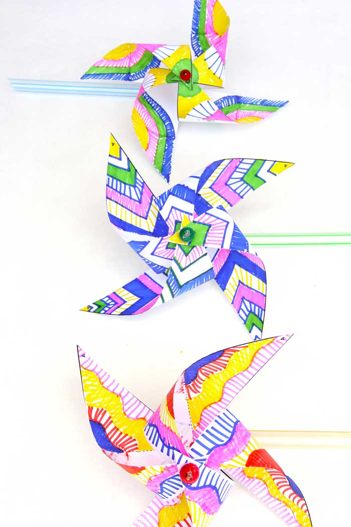 Kids Paper Crafts: Op-Art Pinwheels - Babble Dabble Do