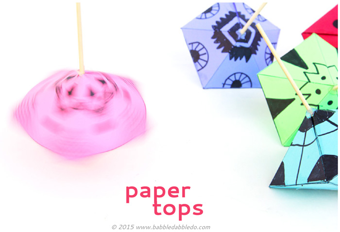 Make these simple printable paper toys at home: Paper Tops! Easy for even young kids to spin!