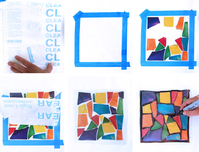 Pasta Crafts: Stained Glass Pasta. Use colored lasagna noodles to create faux stained glass art!