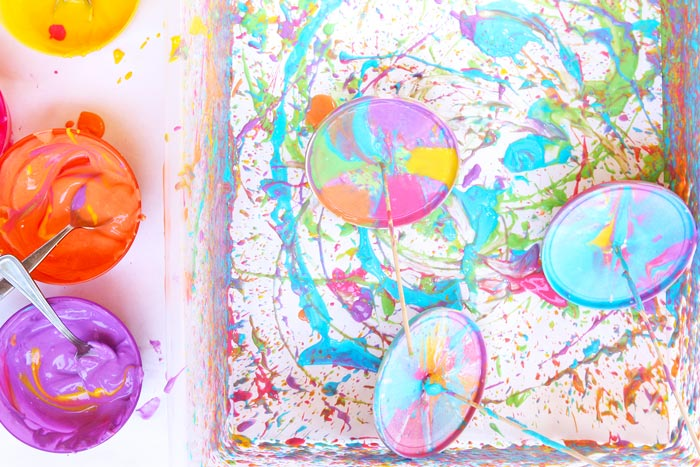 Easy Art Activity Yogurt Spin Art Tops Babble Dabble Do