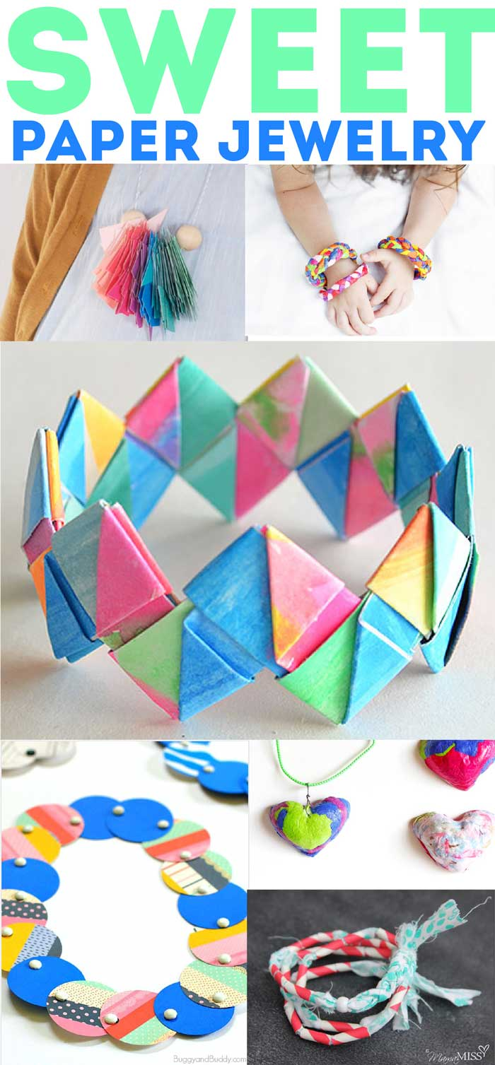 60+ amazing paper crafts for kids (and adults) to make! Paper Jewelry projects