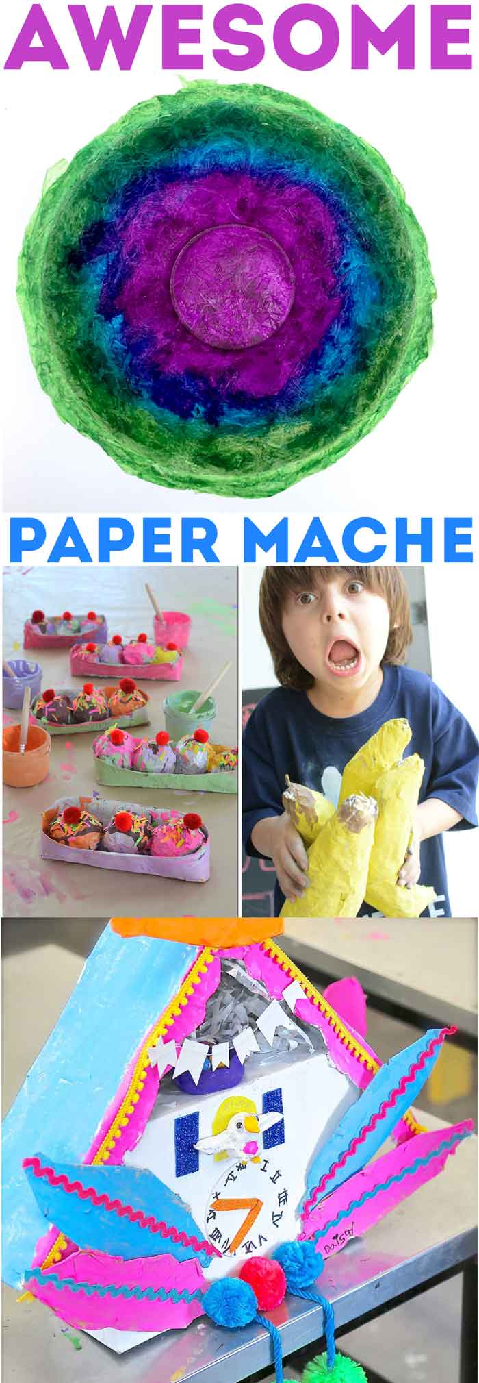60+ Paper Crafts for kids and adults from the Rockin' Art Moms. Paper Mache Projects