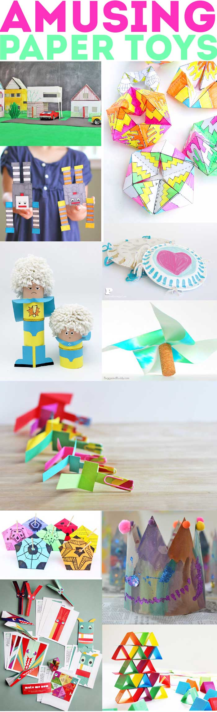 60+ Paper Crafts for kids and adults from the Rockin' Art Moms. Paper Toys to make at home