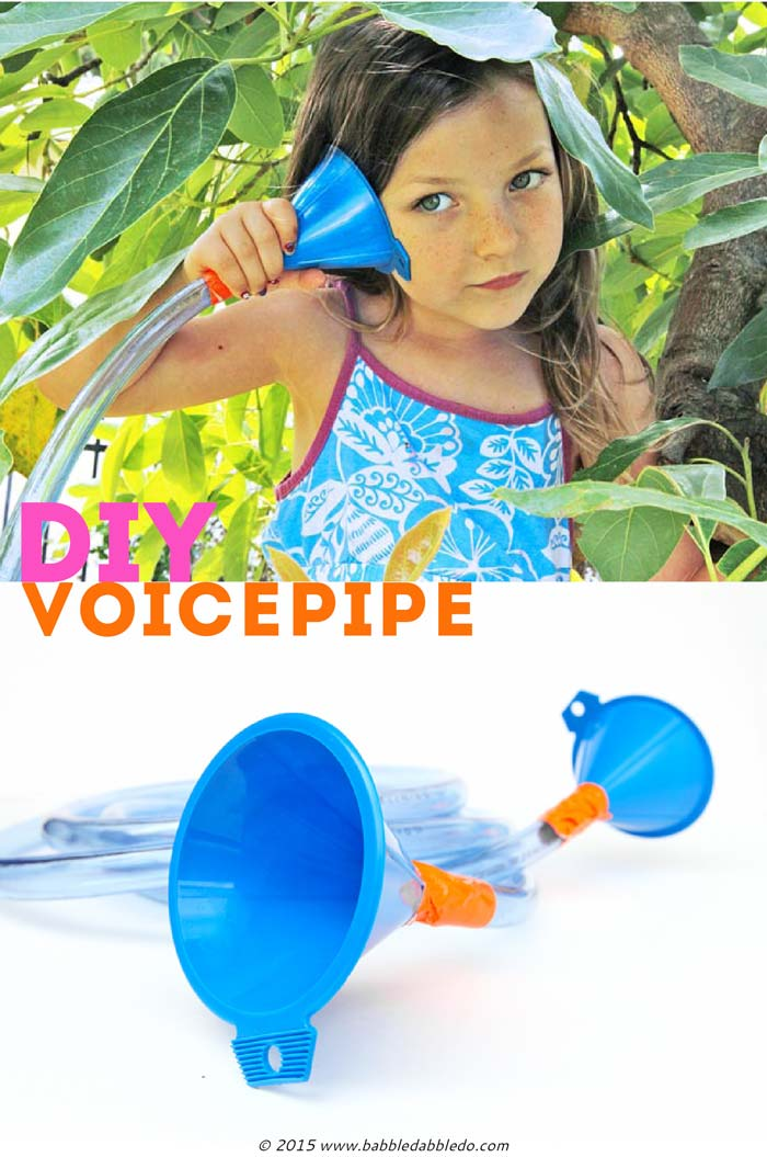 Instead of the 'ol cup and string try making a telephone out of tubing and funnels. Simple engineering project for kids exploring the sense of sound.