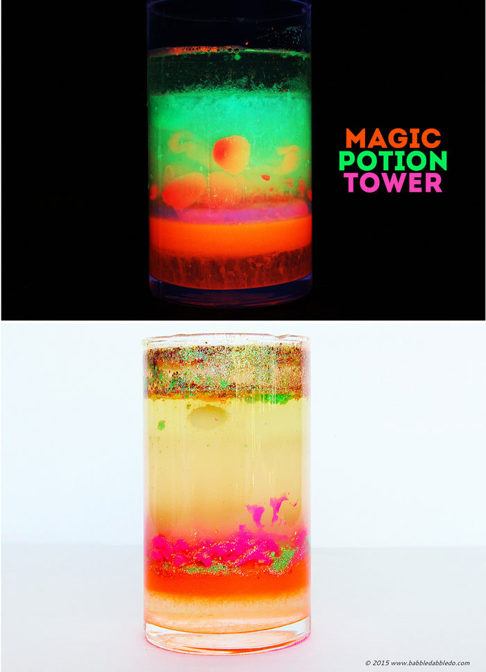 Freaky science projects for kids: Make a glowing Magic Potion Density Tower and explore the density of different liquids.
