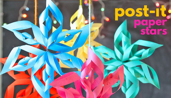 3D Paper Stars from Post-It Notes