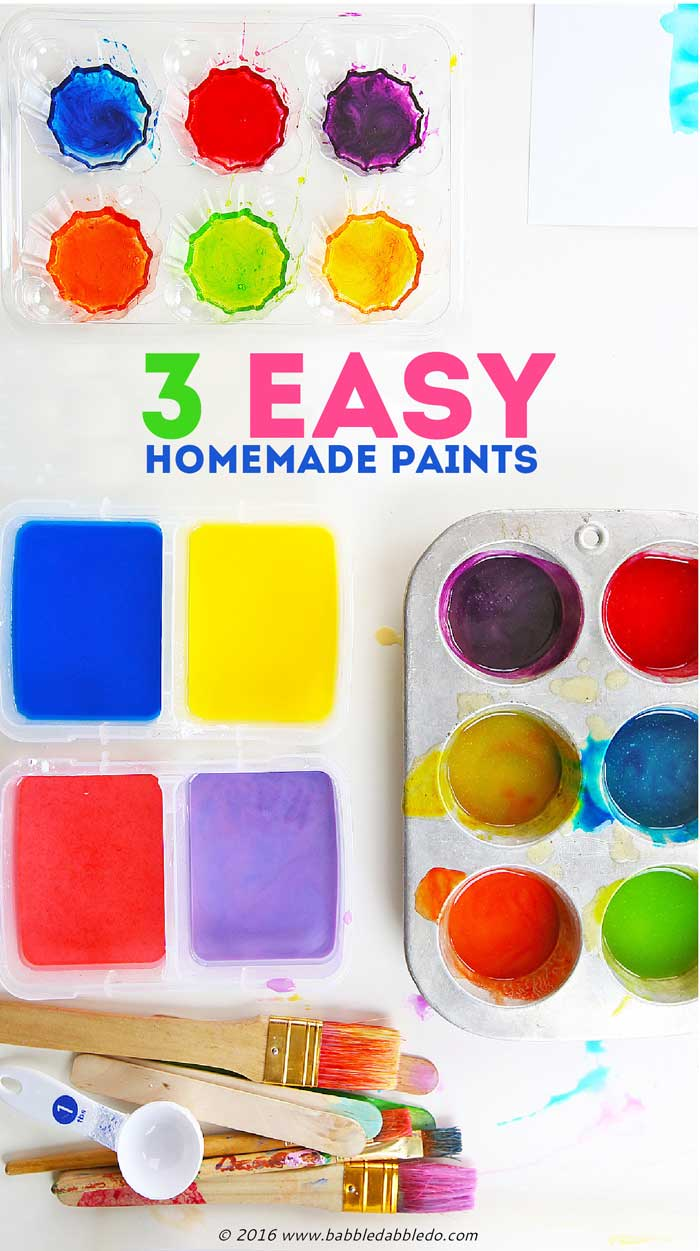 3 easy homemade paints for kids you can make using items from your pantry.