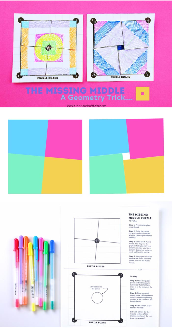 Have fun with this math game: The Missing Middle Puzzle. A printable vanishing area puzzle.