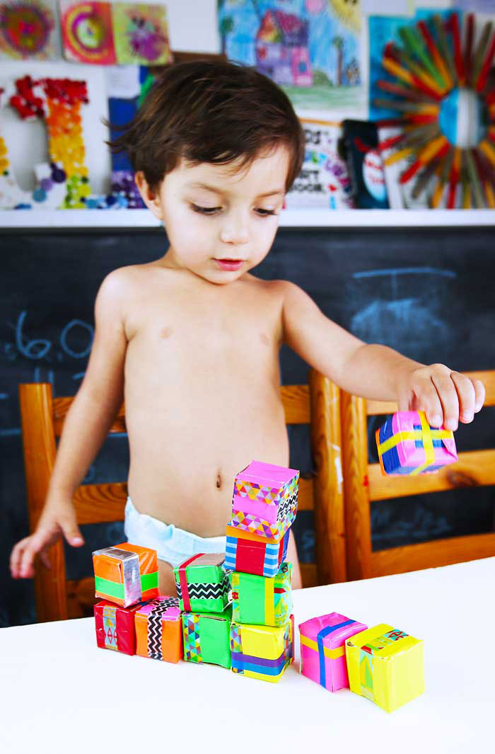 Easy recycled craft idea: Make DIY blocks out of cardboard tubes!
