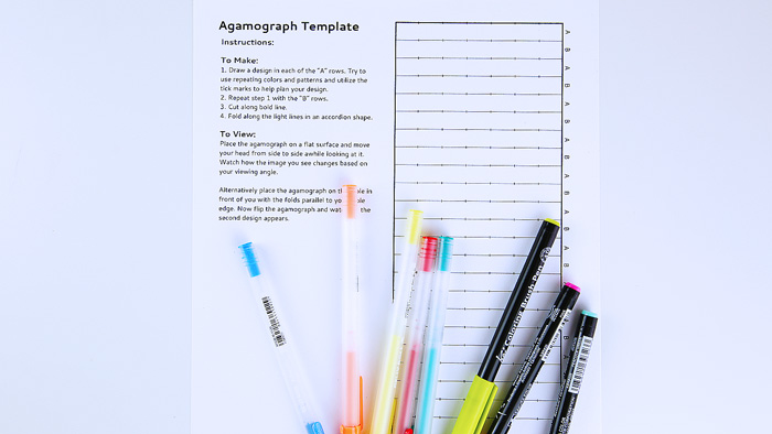 Try making your own agamograph using our printable template. A fun drawing project that changes depending on your viewing angle.