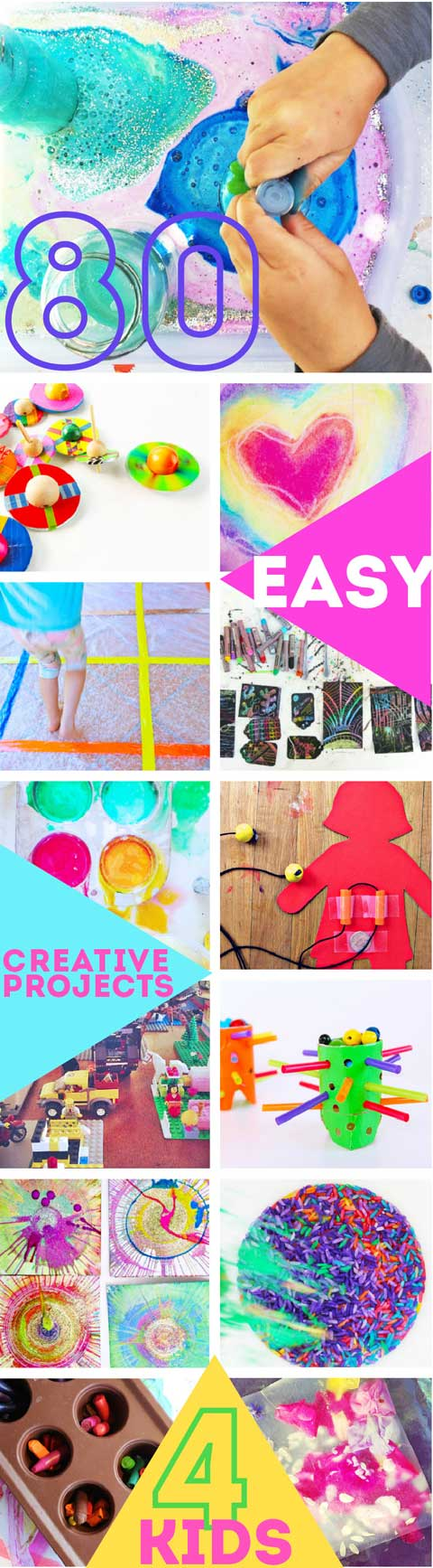 80 Easy Creative Projects for Kids including activities, art, crafts, science, engineering and toys! Projects perfect for kids ages 3-8.