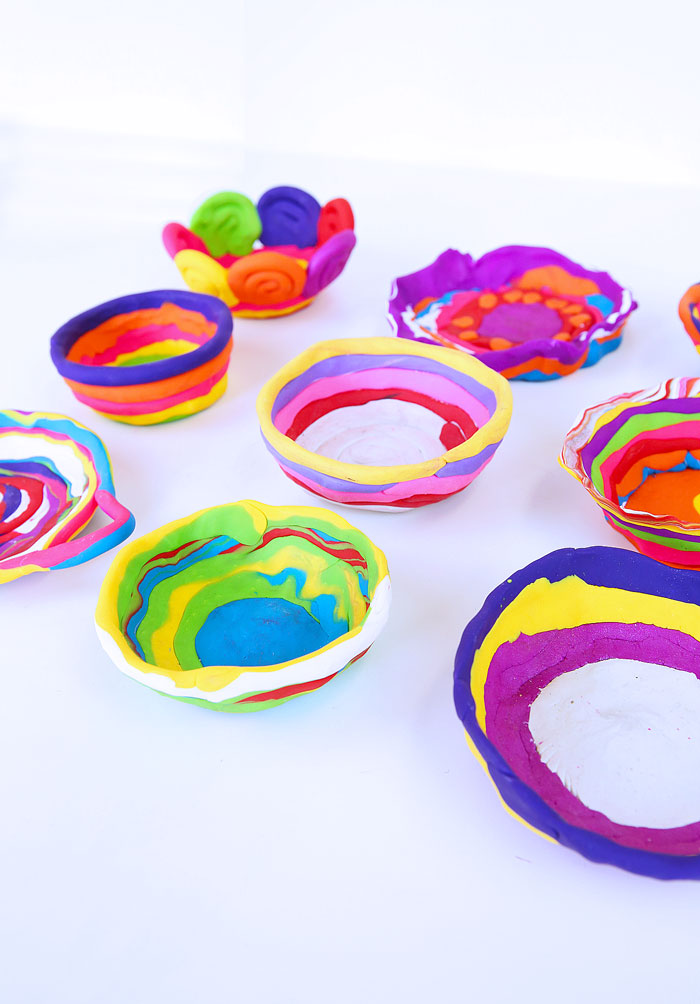 Learn how to make simple coil pots using polymer clay. Easy and colorful clay project for kids!