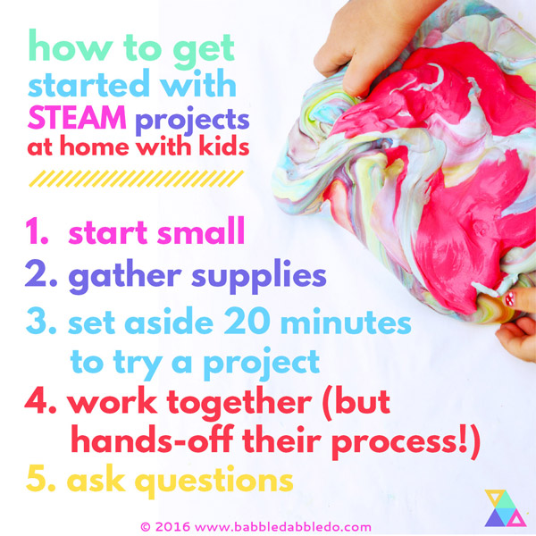 Learn how get started with STEAM projects at home with your kids.