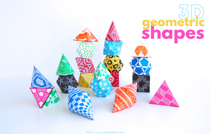 Learn how to make 3D geometric shapes out of paper. A great math art project teaching kids about geometry.