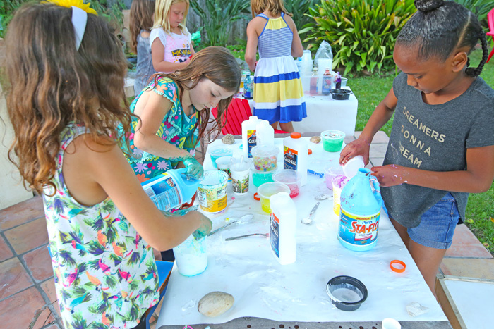 To manage the mess take slime making into the backyard.