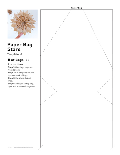 Lunch Bag Paper Stars Cutting Templates Sample Pic