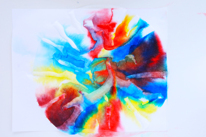 Easy art and science project that teaches kids the concepts of diffusion, solubility, and color mixing.