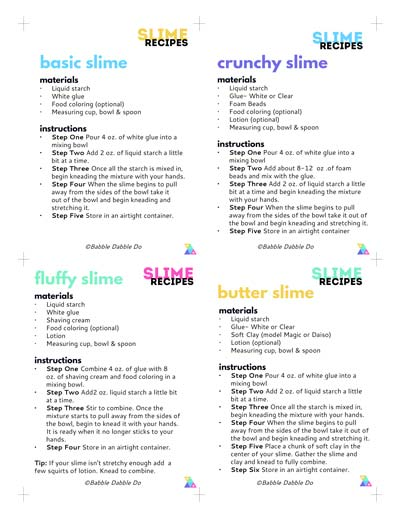 This is a picture of Inventive Slime Recipe Printable