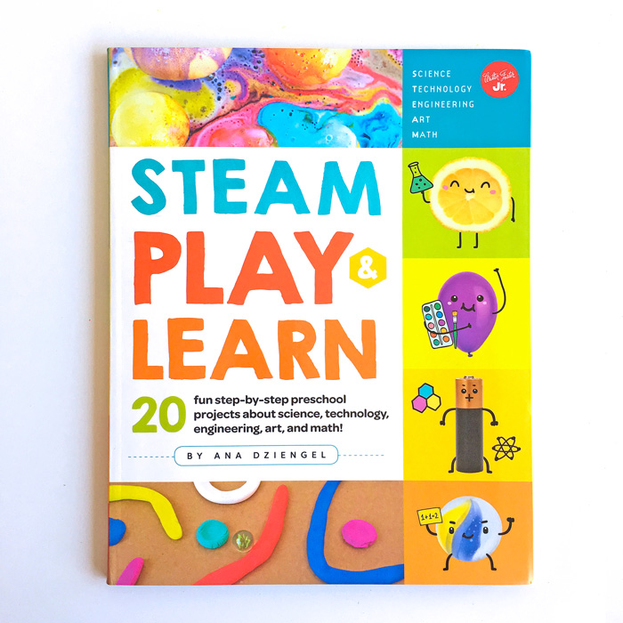 STEAM Play & Learn is a new kids activity book with 20 hands-on projects geared towards preschool aged children and beyond.