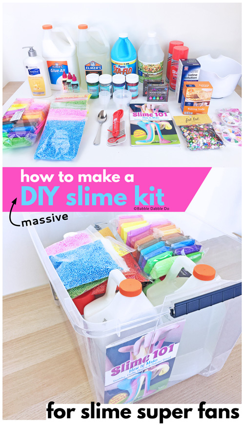 If you have a slime loving child, consider putting together this massive DIY Slime Kit that will keep them busy for a very long time!