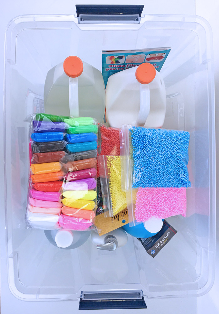 Store slime making supplies in a large storage bin.
